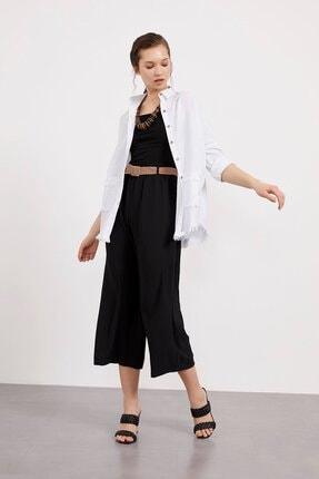 Picture of Kadın  Siyah Kemerli Bol Paça Kısa Pantolon