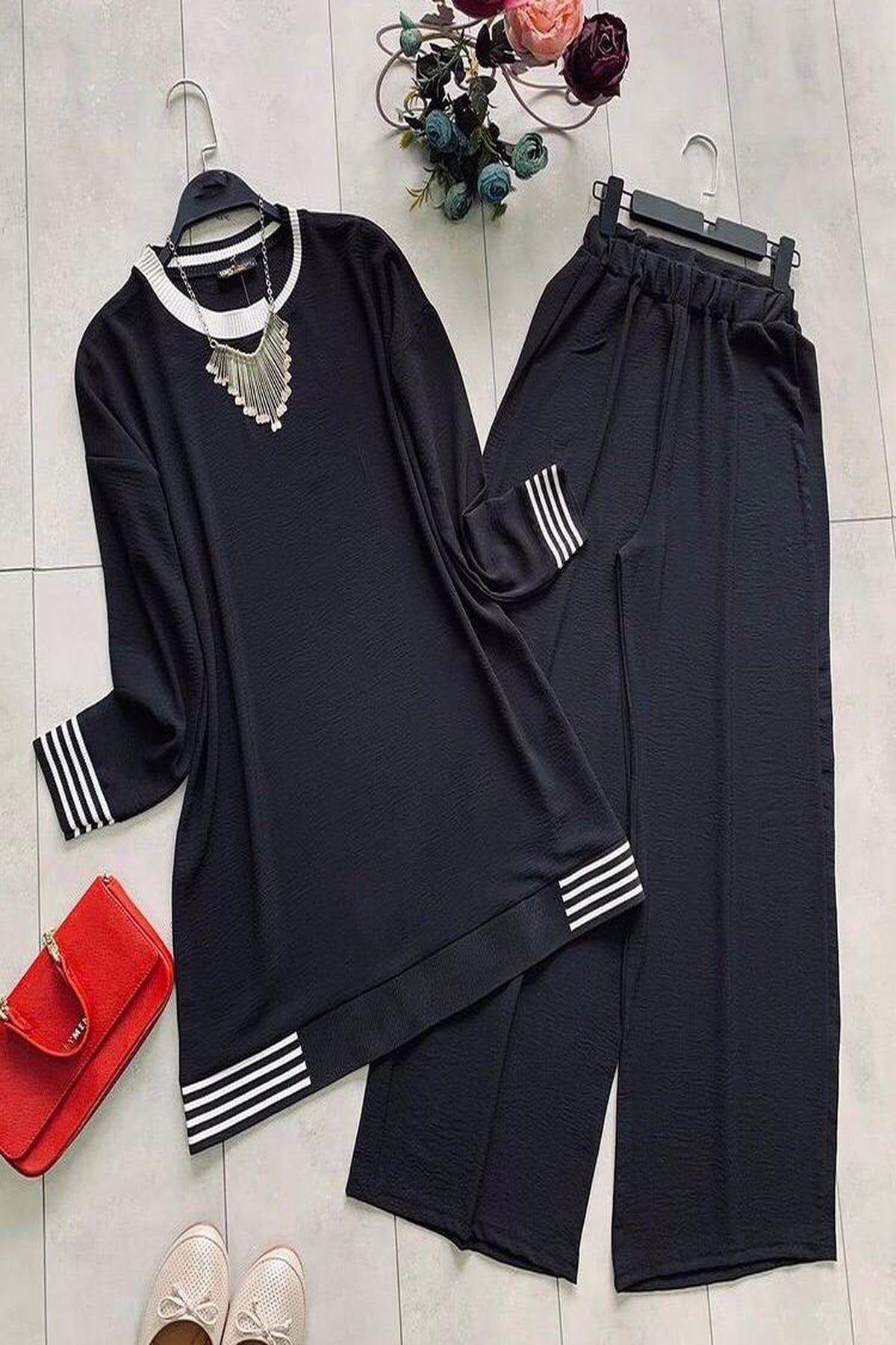 Kadın Siyah Ayrobin Kumaş Takım
