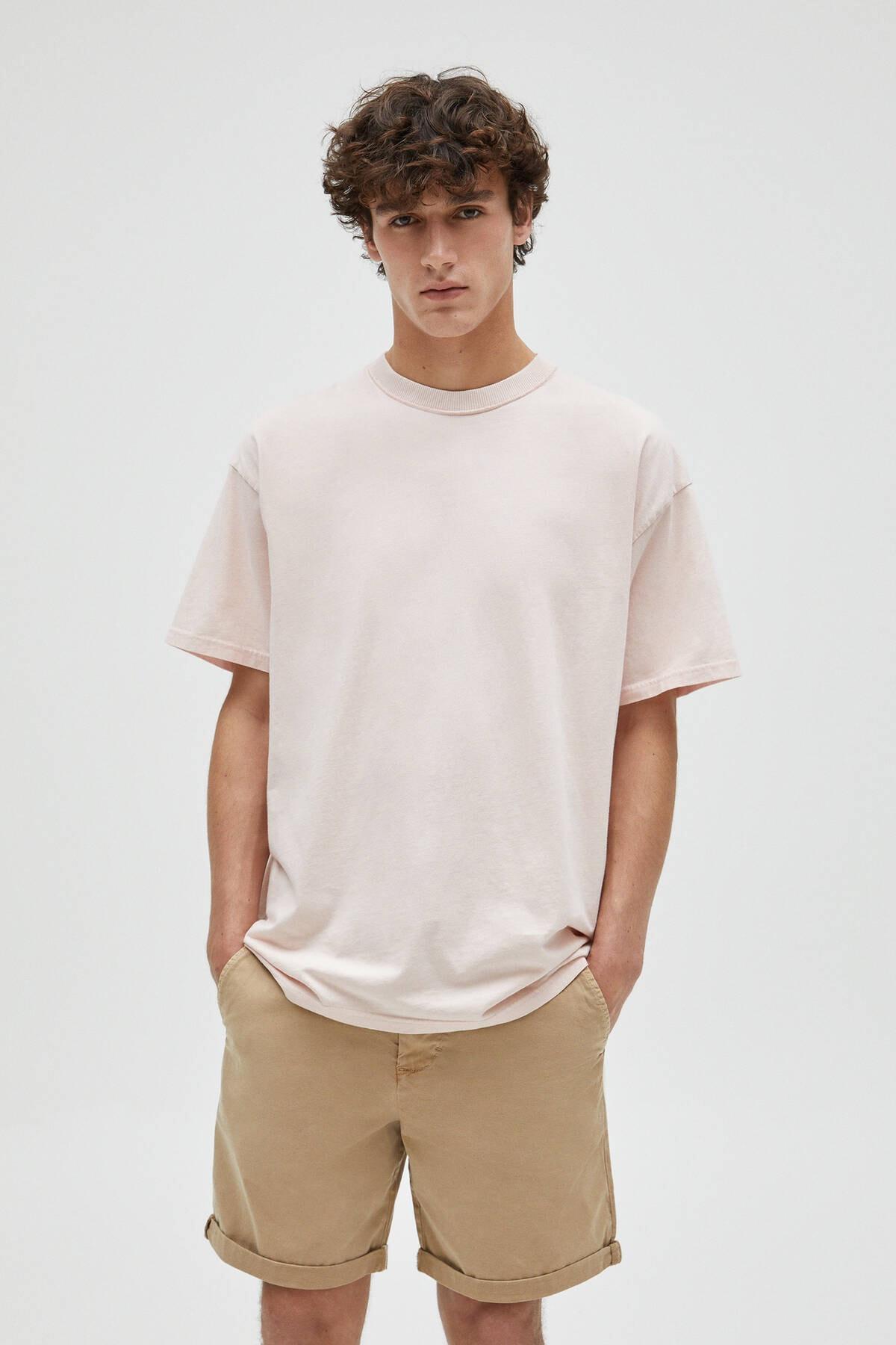 Pull & Bear Erkek Pembe Basic Loose Fit T-Shirt 04241517 0