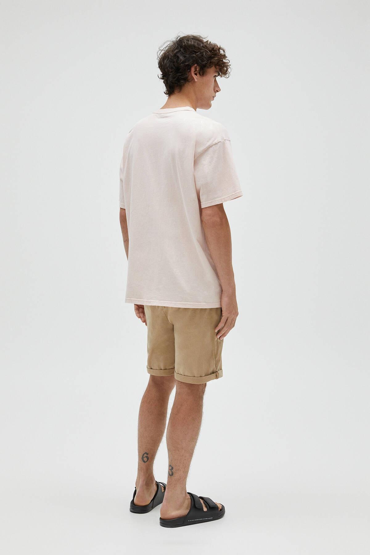 Pull & Bear Erkek Pembe Basic Loose Fit T-Shirt 04241517 3