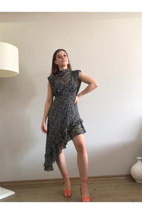 Kadın Siyah Asimetrik Etek Ucu Detaylı Şifon Elbise 16138