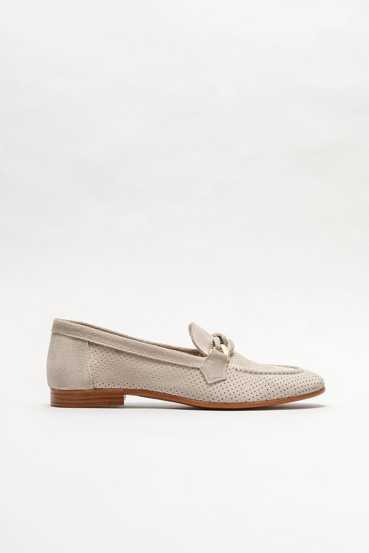 Kadın Bej Deri Loafer Ayakkabı