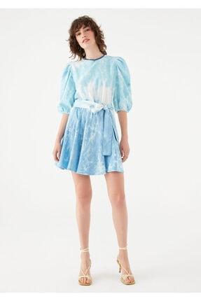 Mavi Kadın terranean Nazar Boncuğu Detaylı Batik Elbise 131129-35158 1
