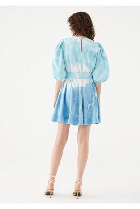 Mavi Kadın terranean Nazar Boncuğu Detaylı Batik Elbise 131129-35158 3