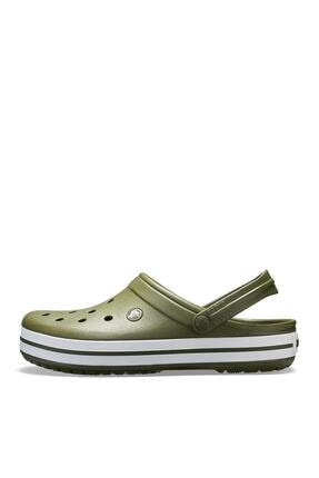 Crocs Yeşil Unisex Crocband Kenarı Beyaz Çizgili Terlik 2