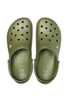 Crocs Yeşil Unisex Crocband Kenarı Beyaz Çizgili Terlik 4