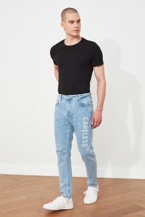 Picture of Açık Mavi Erkek Yırtıklı Basklı Carrot Fit Jeans TMNSS21JE0191