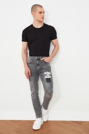 Antrasit Erkek Yırtık Detaylı Baskılı Normal Bel Slim Fit Jeans TMNSS21JE0190 resmi