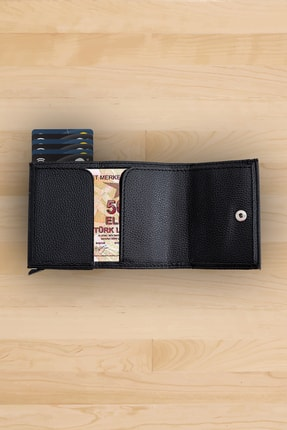 Sadico Siyah Cüzdan - Erkek Otomatik Mekanizmalı Kartlık - Deri Cüzdan - Toplam 9 Adet Kart Kapasiteli 4