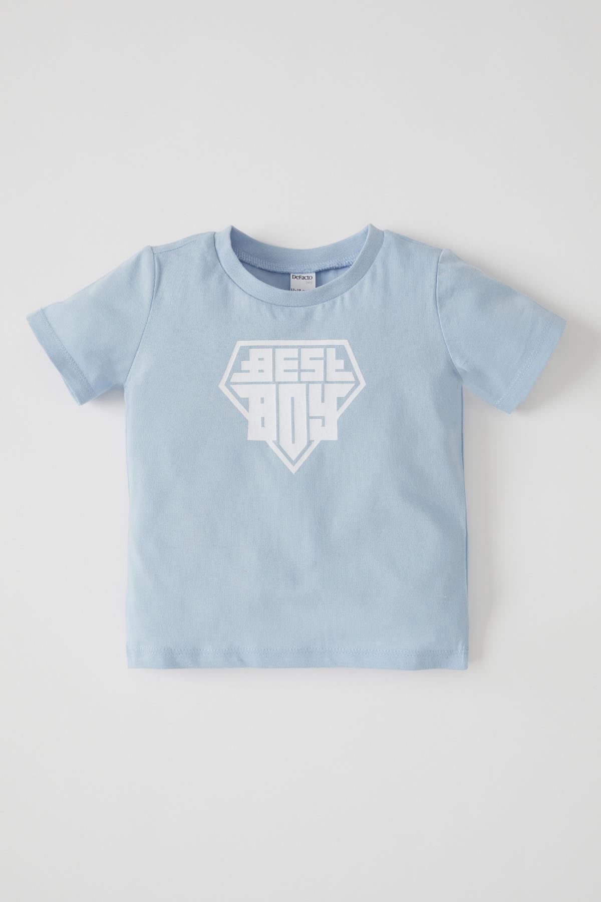Erkek Bebek Yazı Baskılı Kısa Kol Pamuklu Tişört