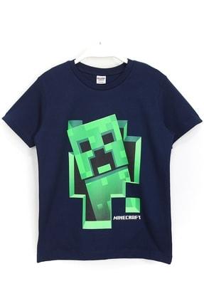 Minecraft Erkek Çocuk Lacivert Minecraft 3d Creeper Baskılı Tişört 0