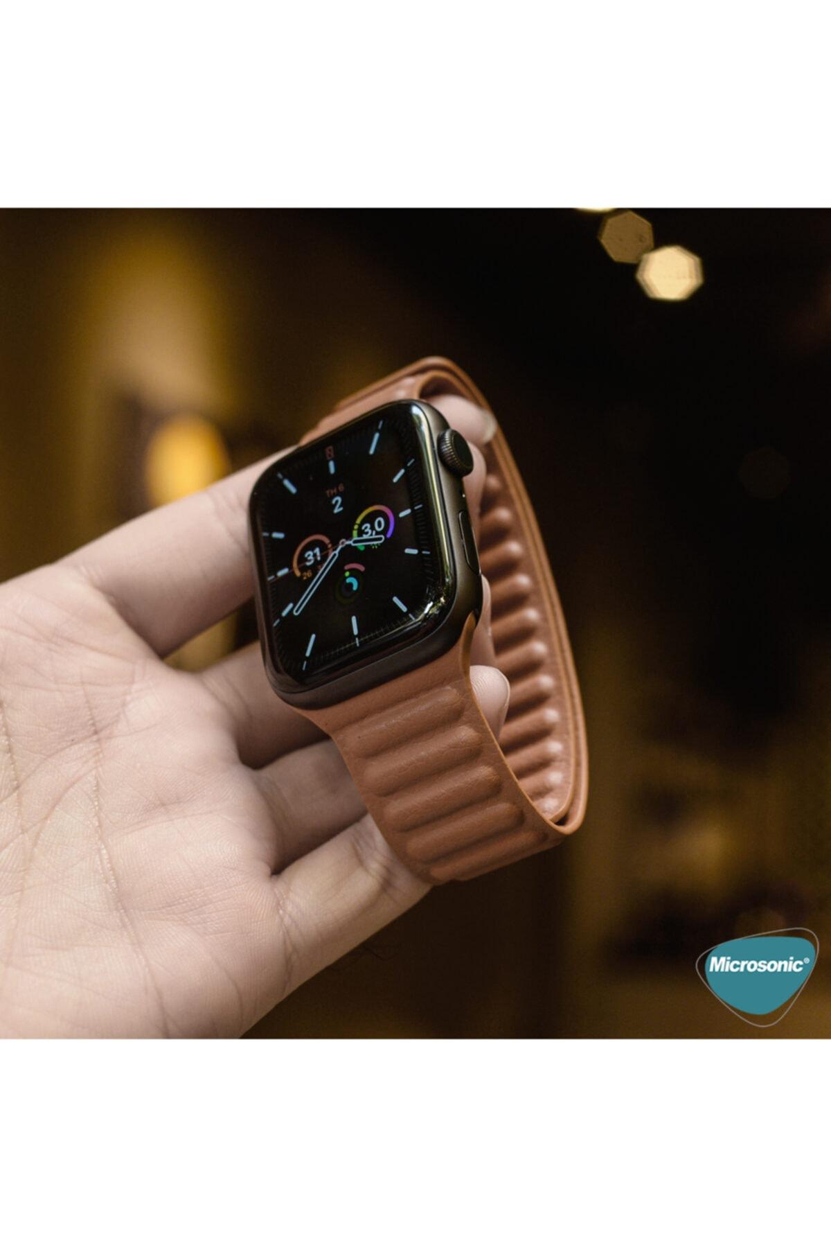 Apple Microsonic Watch Series 3 38mm Kordon Leather Link Band Kahverengi