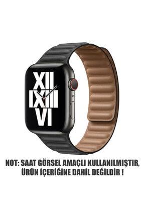 Apple Microsonic Watch Series 6 44 mm Leather Link Band Siyah Kordon 1