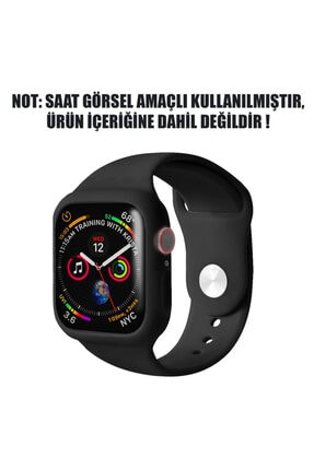 Apple Microsonic Watch Series 5 44mm Kordon 360 Coverage Silicone Siyah 1
