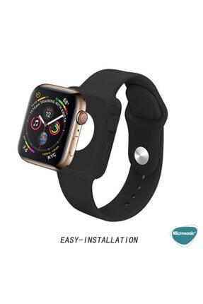Apple Microsonic Watch Series 5 44mm Kordon 360 Coverage Silicone Siyah 2