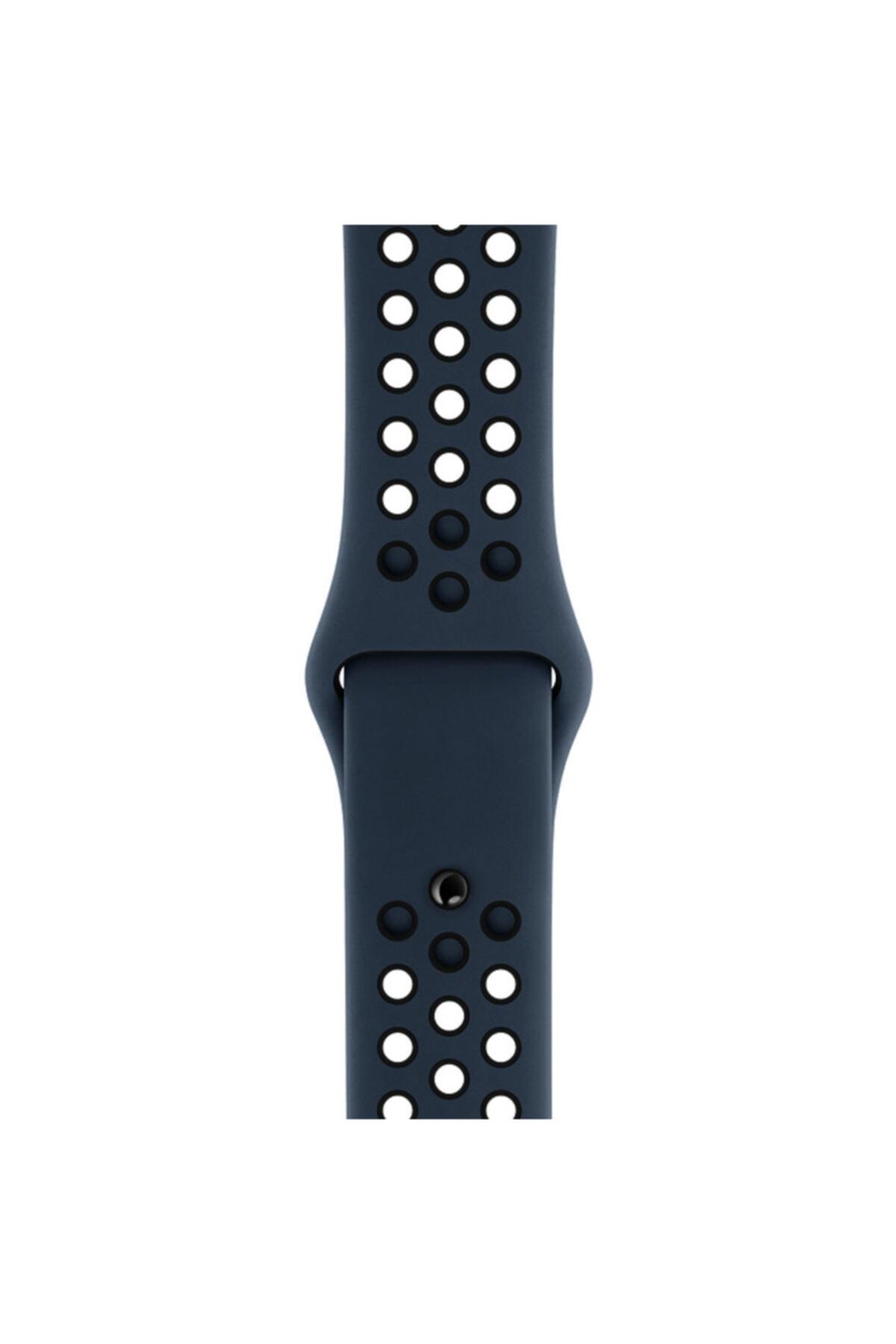 Apple Microsonic Watch Series 3 38mm Uyumlu Rainbow Sport Band Kordon Lacivert Beyaz