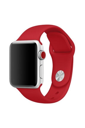 Apple Microsonic Watch Series 3 38mm Silikon Kırmızı Kordon 0