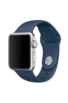 Apple Microsonic Watch Series 3 42mm Silikon Kordon Lacivert 0