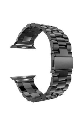 Apple Microsonic Watch Series 4 44mm Metal Stainless Steel Siyah Kordon 0