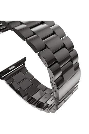 Apple Microsonic Watch Series 4 44mm Metal Stainless Steel Siyah Kordon 2