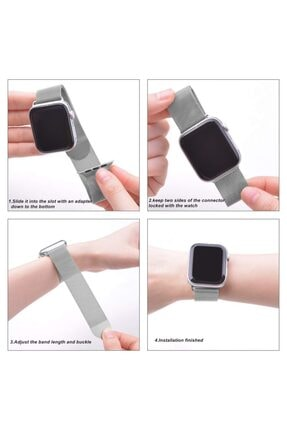 Apple Microsonic Watch 5 44mm Milanese Loop Version 3 Siyah Kordon 4