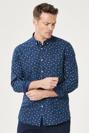 Altınyıldız Classics Erkek Lacivert Tailored Slim Fit Düğmeli Yaka Baskılı %100 Koton Gömlek 1