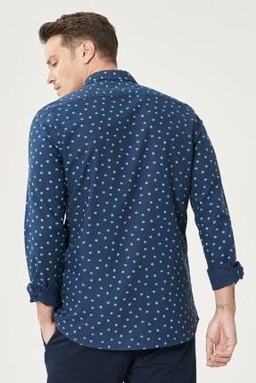 Altınyıldız Classics Erkek Lacivert Tailored Slim Fit Düğmeli Yaka Baskılı %100 Koton Gömlek 4