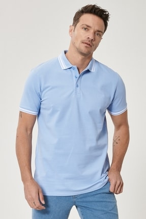 Picture of Erkek Açık Mavi Slim Fit Dar Kesim %100 Koton Polo Yaka Tişört