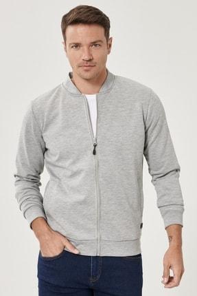 Altınyıldız Classics Erkek ACIK GRI MELANJ Standart Fit Günlük Rahat Fermuarlı Kolej Yaka Spor Sweatshirt 1