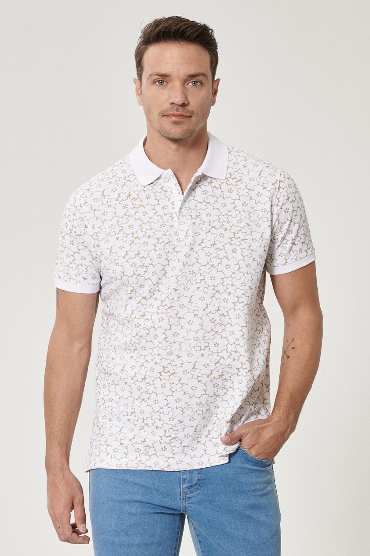 Erkek Beyaz-Haki Polo Yaka Cepsiz Slim Fit Dar Kesim %100 Koton Desenli Tişört