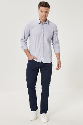 Altınyıldız Classics Erkek Lacivert Kanvas Slim Fit Dar Kesim 5 Cep Pantolon 1