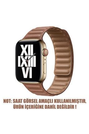 Apple Microsonic Watch Series 6 40mm Kordon Leather Link Band Kahverengi 1