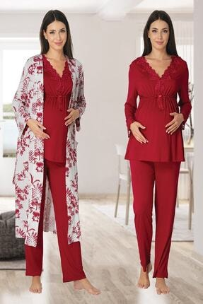 Effort Pijama Zerre Bebe Kadın Vişne Uzun Kollu Hamile Pijama Takımı Sabahlık Lohusa Set 0