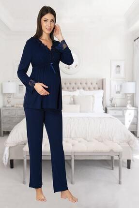 Effort Pijama Zerre Bebe Kadın Lacivert Uzun Kollu Hamile Pijama Takımı Sabahlık Set 1