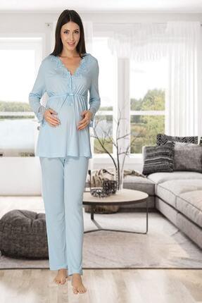 Effort Pijama Zerre Bebe Kadın Mavi Uzun Kollu Hamile Pijama Takımı Sabahlık Lohusa Set 1