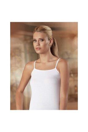 Sedef Yıldızı Kadın Beyaz İp Askılı Düz Biye Atlet 1055 0