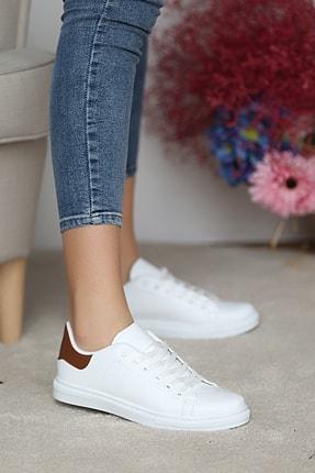 Pembe Potin Kadın Beyaz Taba Ayakkabı 1