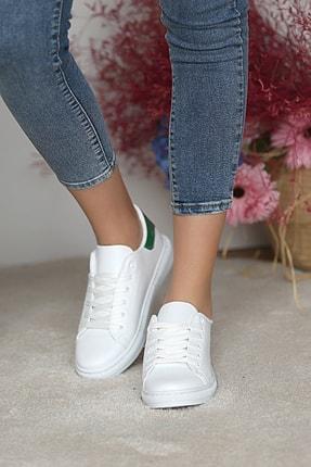 Pembe Potin Kadın Beyaz Yeşil Ayakkabı 2