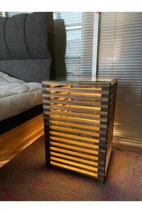 Pronto Reklam Pronto Dizayn Masif Ahşap Led Işıklı Komodin 30x30x60 cm Ceviz Renk 3