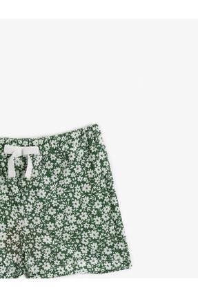 Koton Kız Bebek Yeşil Çiçekli Sort Beli Fiyonklu 2