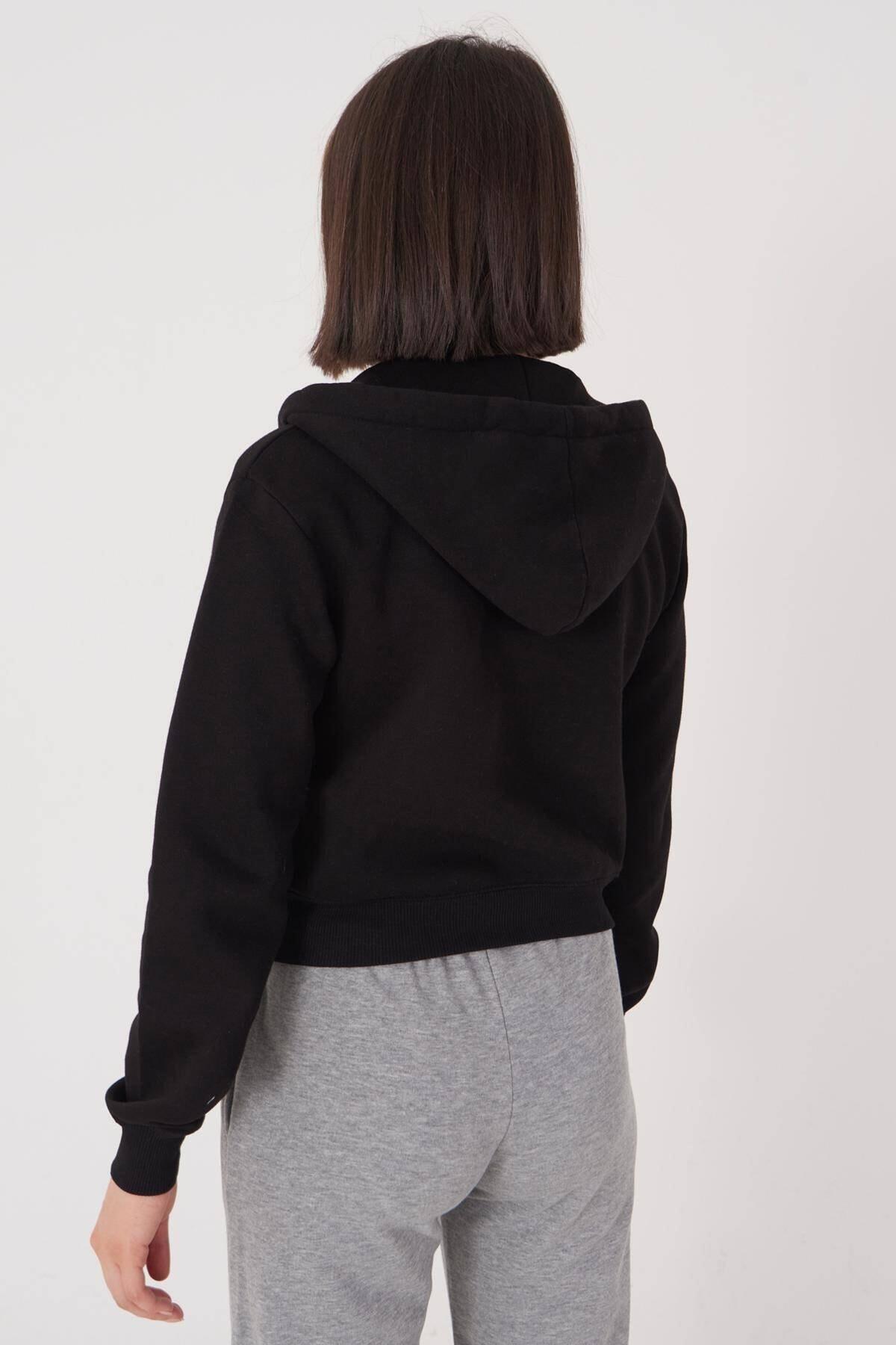 Addax Kadın Siyah Kapüşonlu Hırka H0768 - J9J10 Adx-0000020944 3