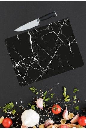 Siyah Mermer Görünümlü Cam Kesme Tahtası | Kesme Tahtası | Cam Kesme Tablası CKSM2003