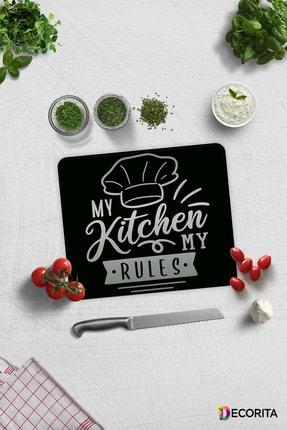 Decorita My Kitchen My Rules   Cam Kesme Tahtası - Cam Kesme Tablası   29cm x 34cm 0