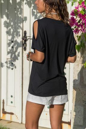 Güneşkızı Kadın Siyah Omuz Dekolteli T-shirt Gk-jr215 1