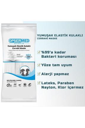 OPSERMED 3 Katlı Meltblownlu Burun Telli Cerrahi Maske 50'li (Yumuşak Elastik Kulaklı) Beyaz 3