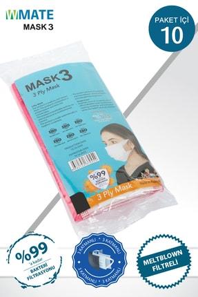 WMATE MASK3 50 Adet Beyaz Meltblown Filtreli 3 Katlı Yeni Nesil Maske 10'lu Özel Poşet 1