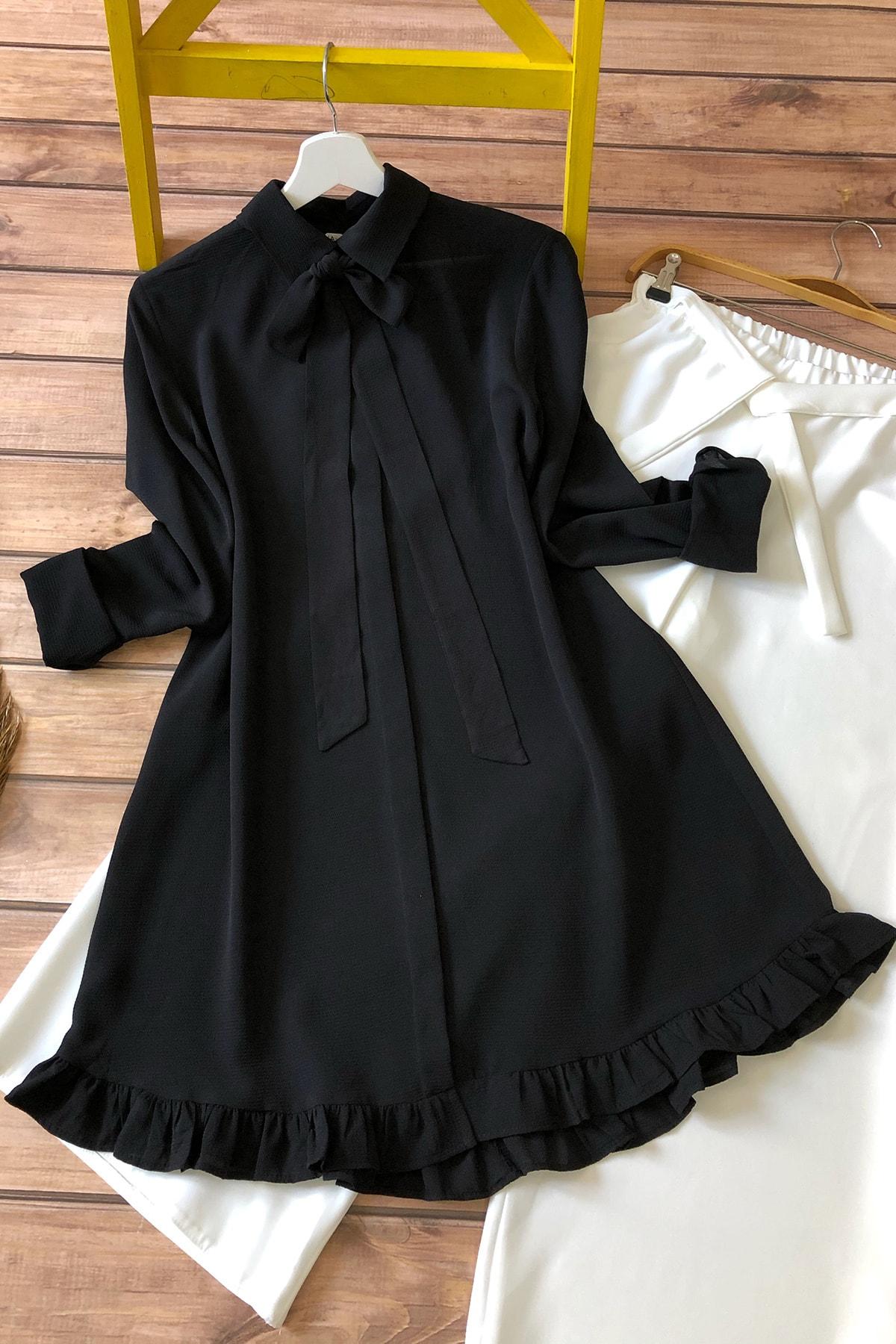 Fırfırlı Tunik 1020-siyah