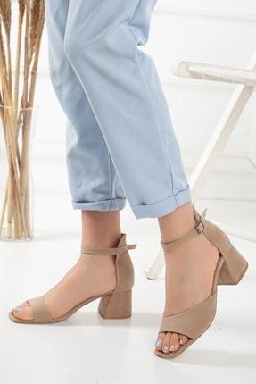 Kadın Vizon Süet Kalın Topuklu Tek Bant Yazlık Ayakkabı tekbant--hotiç