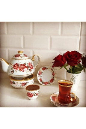 Çay Kahve Takımı Red Rose 20 Parça Çay & Kahve Seti ELZ-65847
