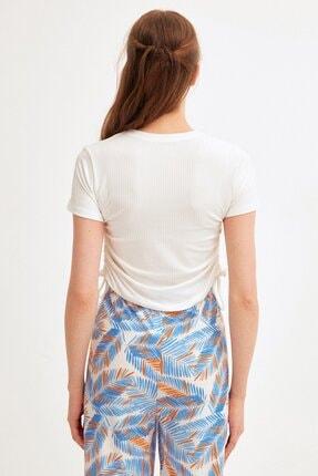 Fullamoda Kadın Ekru Yanları Büzgülü Fitilli Bluz 3